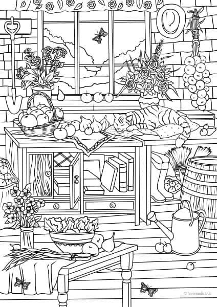 Turn Kleurplaat County Spring Lazy Cats Printable Adult Coloring Pages