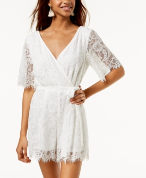 532ffa82dd2 Trixxi Juniors  Surplice Lace Romper - White XL