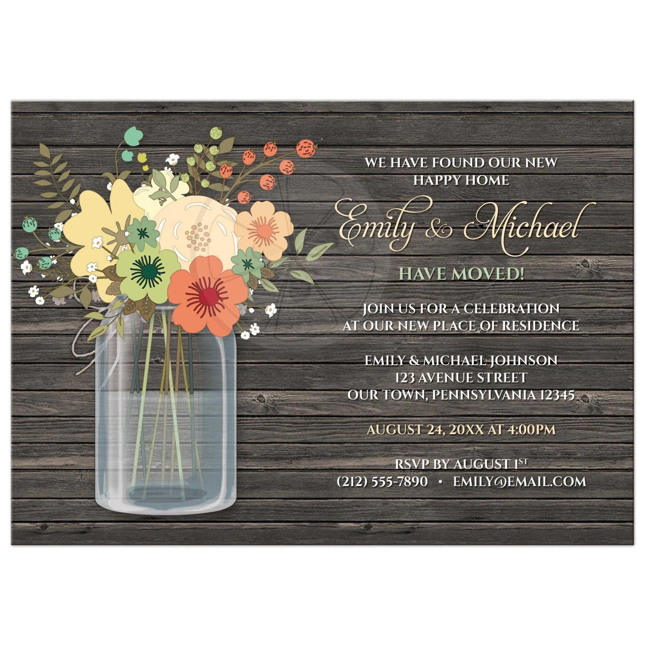 Housewarming Invitations  Rustic Floral Wood Mason Jar