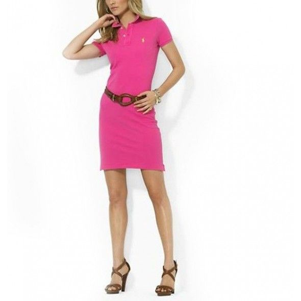 Ralph Lauren Women Rosy Mesh Polo Collar Dress!$38.30