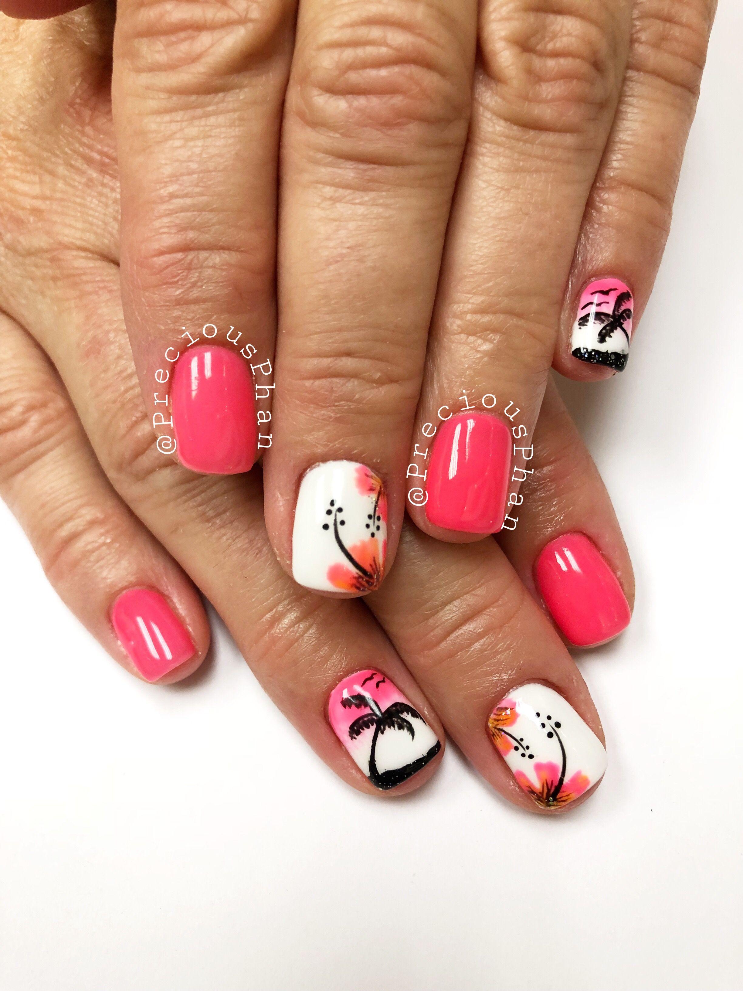 Summer Nails Neon Nails Hibiscus Nails Palm Trees Preciousphan Summer Pedicure Colors Palm Tree Nails Pedicure Colors