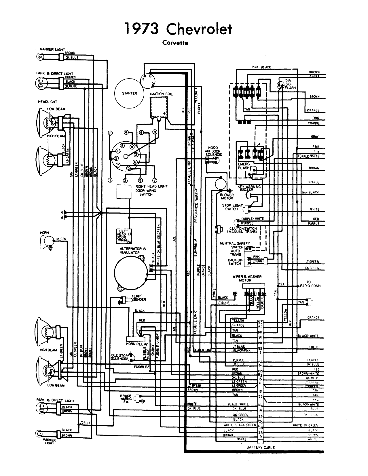 wiring diagram 1973 corvette | Chevy Corvette 1973 Wiring ... on 67 camaro wiring harness diagram, 73 plymouth alternator diagram, mopar starter relay wiring diagram, 75 camaro light wiring diagram, 1977 camaro engine compartment wiring diagram, ford external voltage regulator diagram,