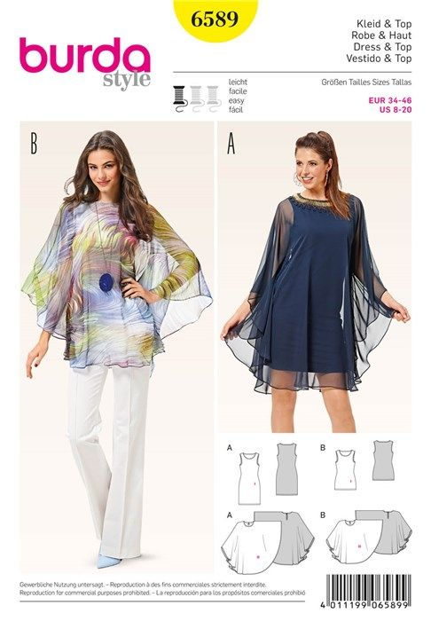 Patron de robe & haut - Burda 6589 | Sewing | Pinterest | Dresses ...