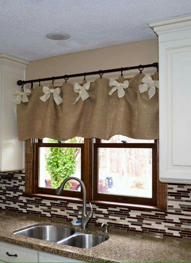 Burlap Kitchen Curtains For Window Windows Valance