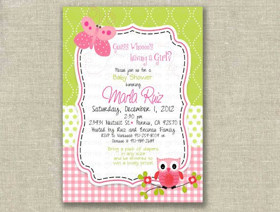 baby shower girl invitation owl butterfly pink green birthday, Baby shower invitations