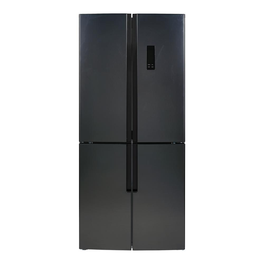Magic Chef 30 7 In 15 0 Cu Ft Quad French Door Refrigerator In Black Stainless Steel Mcqr1500st The Home Depot Magic Chef French Door Refrigerator French Doors