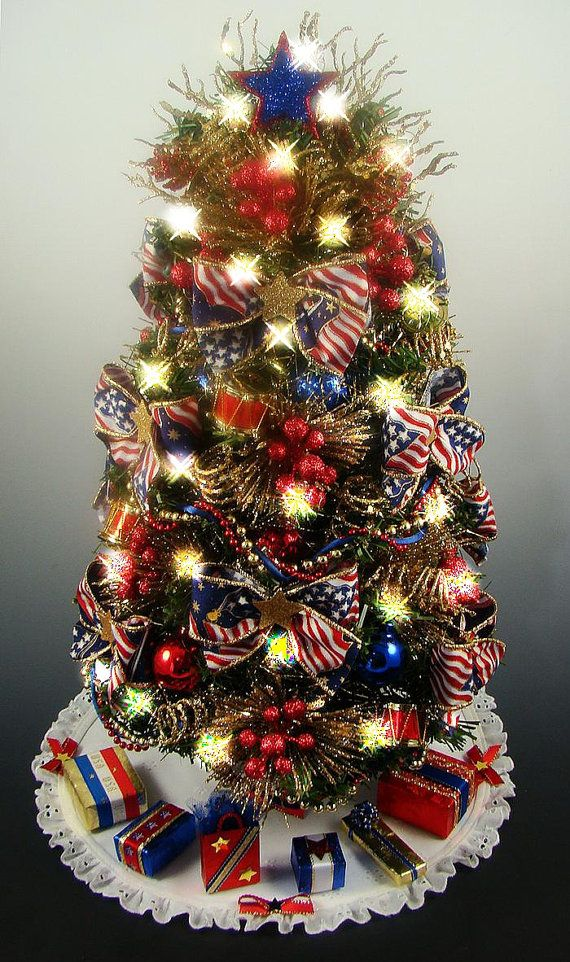 decorated patriotic tabletop mini christmas tree red white blue and gold 35 clear lights 17 inches matching tree skirt and presents - Tabletop Christmas Trees With Lights