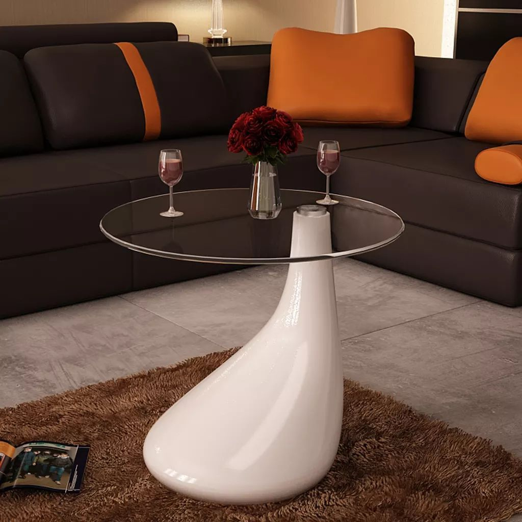 vidaXL 1/2x Coffee Tables w/ Round Glass Top Stand End Side Home Multi Colors - White / 1