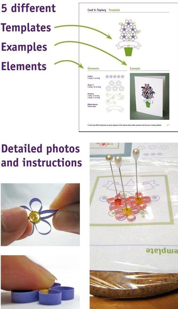 Pdf Pattern Tutorial Hand Embroidery Stitch My Garden 002: Quilling Flowers - PDF Pattern Tutorial