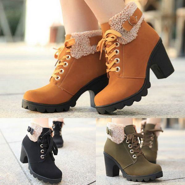 Womens Ladies  Ankle Boots Lace Up Platform High Kitten Heels Shoes Barrel Boots