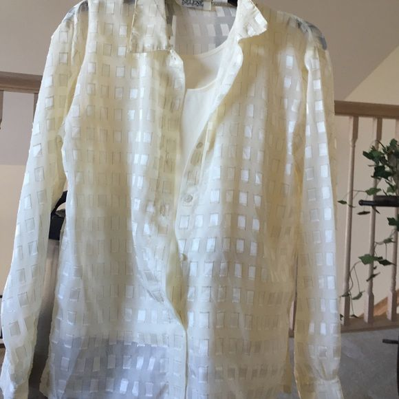 Blouse Beautiful cream colored blouse with gold trimmed frayed edge deco.  Has cream colored attached cami.  Beautiful. In excellent condition. Worn once. Comes from smoke free home Selene Sport Tops Blouses