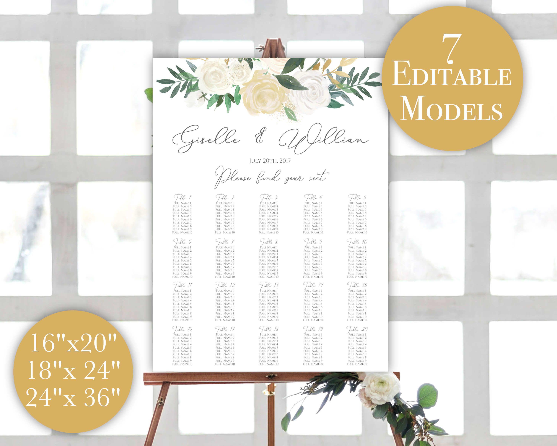 Wedding Seating Chart Printable, Seating Plan Template