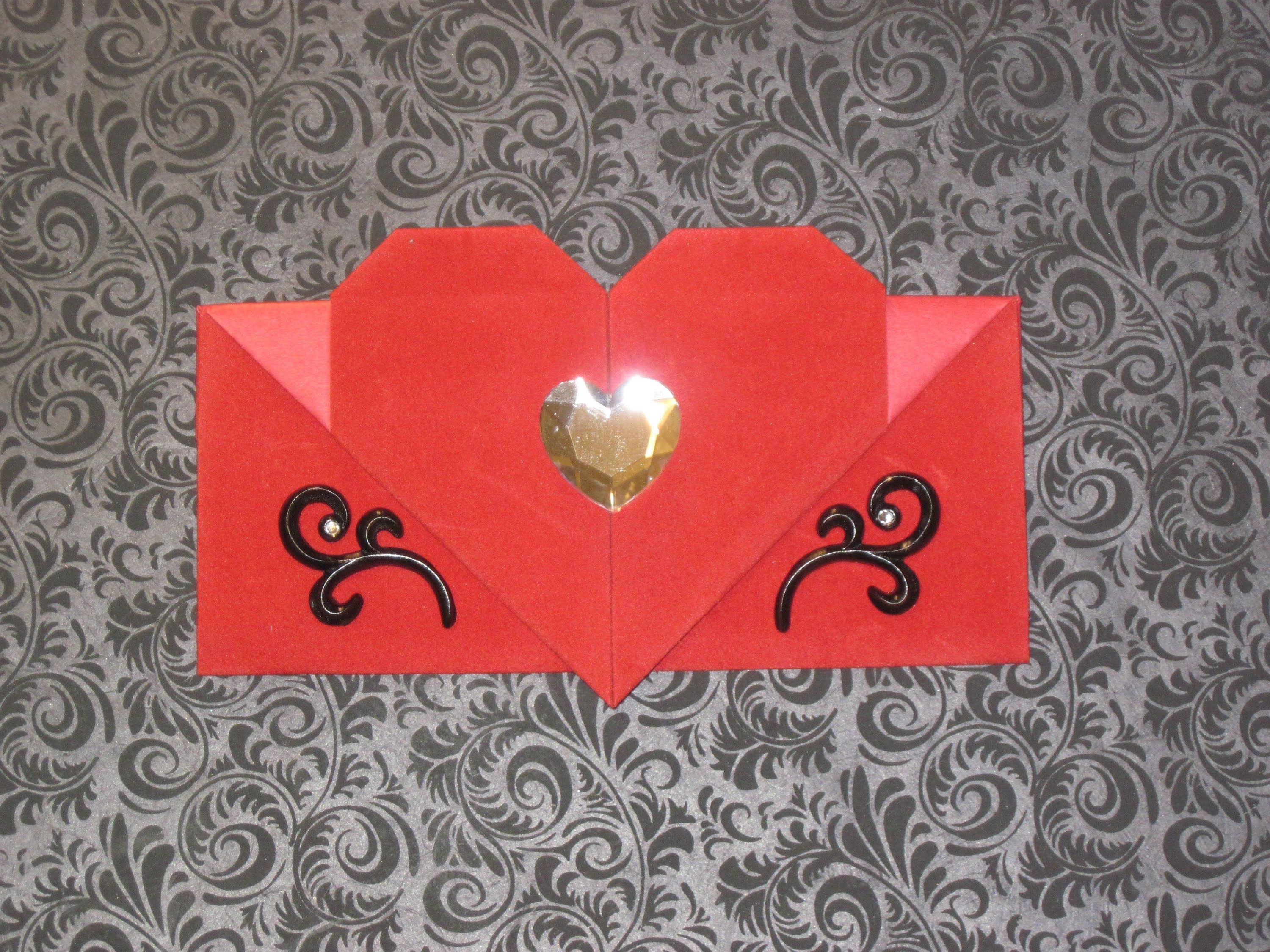 Fold a handmade heart envelope from one piece of letter sized paper