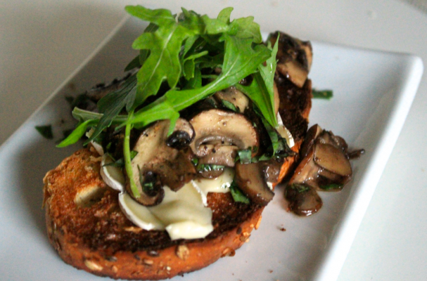Warm Open-Faced Mushroom Brie Sandwich