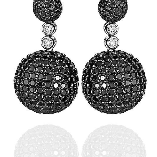 White Gold Ball Drop Earrings With White And Black Diamonds Pave Set Zydo Italy Earrings Drop Earrings Black Diamond