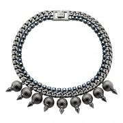 Hematite Dome Necklace with Spikes