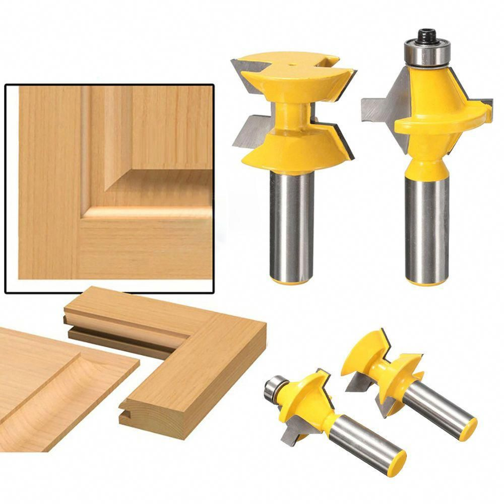 """2Pcs 1//2/"""" Shank Router Bit Set 120° Woodworking Groove Chisel Cutter Tool US"""
