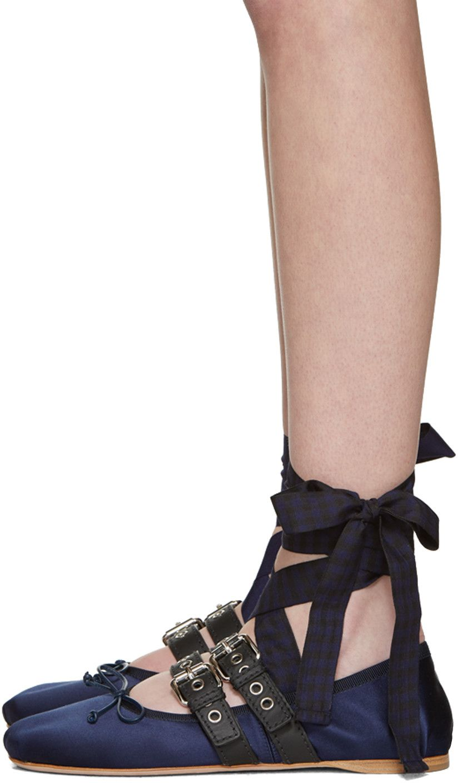 Miu Miu - SSENSE Exclusive Navy Double Strap Ballerina Flats Women