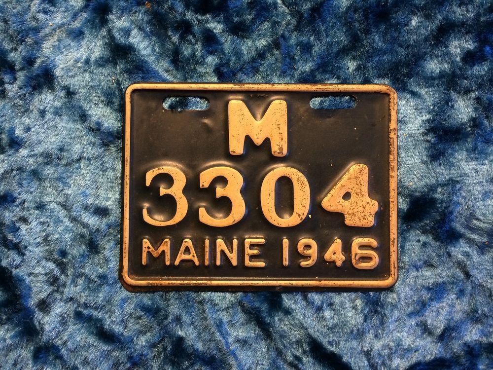 Vintage Maine 1946 Motorcycle License Plate - # M 3304 - ME - Rare ...