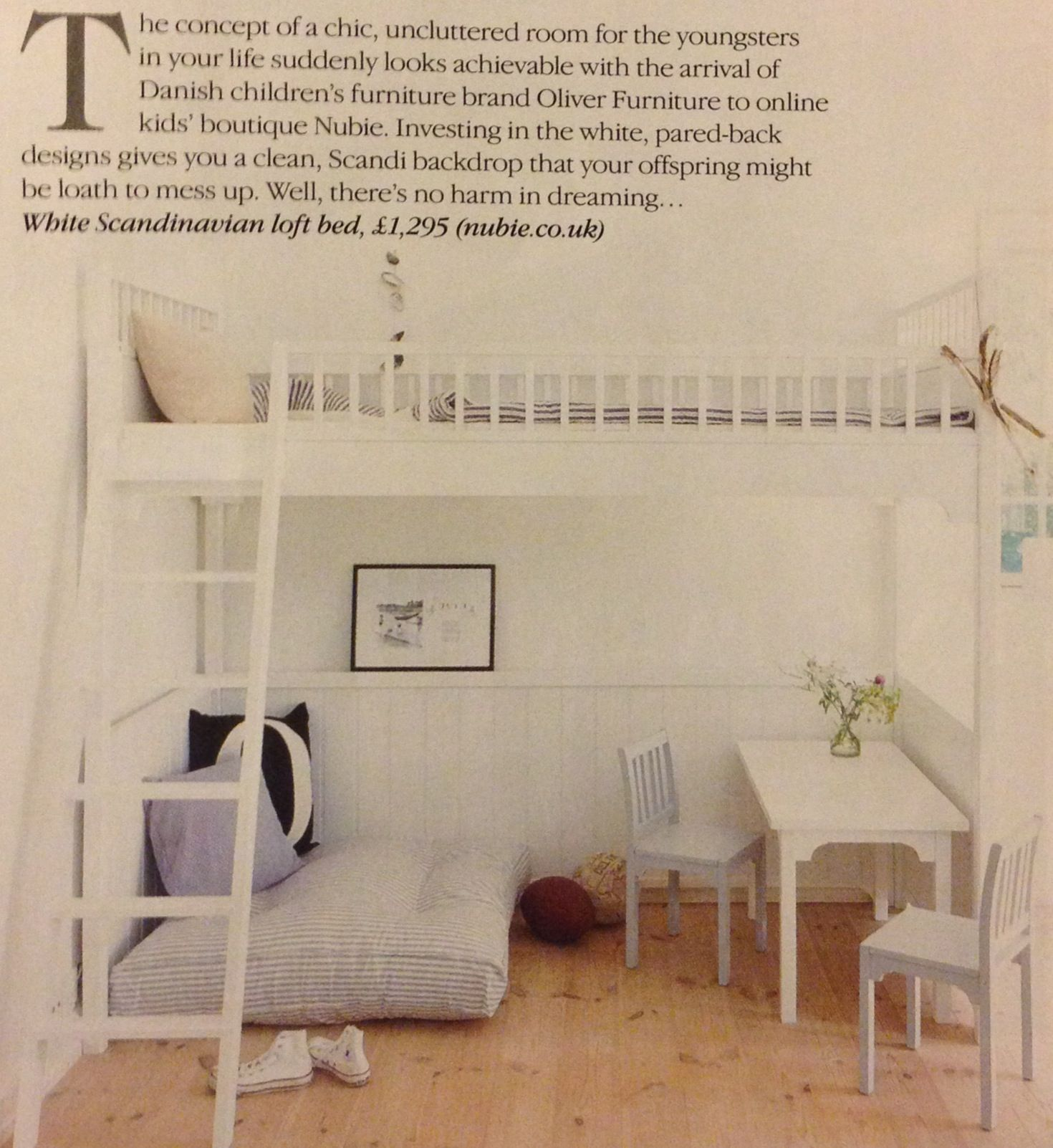 White kids room with raised bed - white room  Great for Blue instead of a desk underneath