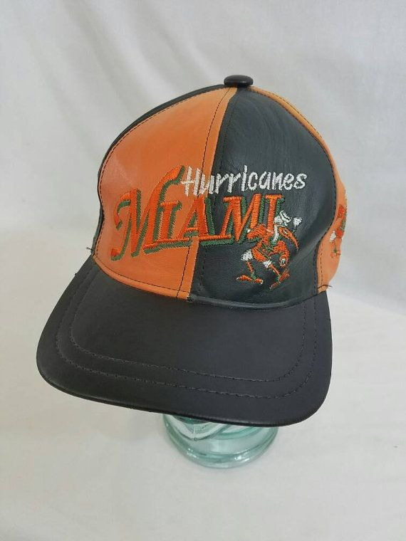 best authentic ccf83 eb371 ... greece vintage miami hurricanes leather snapback hat vintage 90s free  shipping ncaa college football basketball baseball