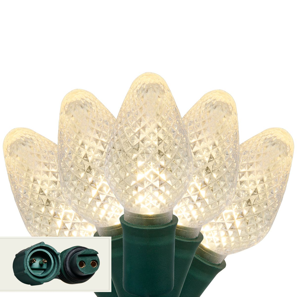 Commercial 25 C7 Warm White LED Christmas Lights, 6