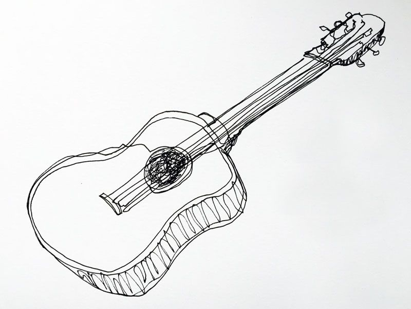 Contour Line Drawing Guitar : I dig the imperfection in this illustration do a lot of