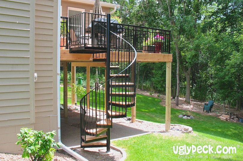 Our spiral staircases for decks are made with maintenance free decking materials…