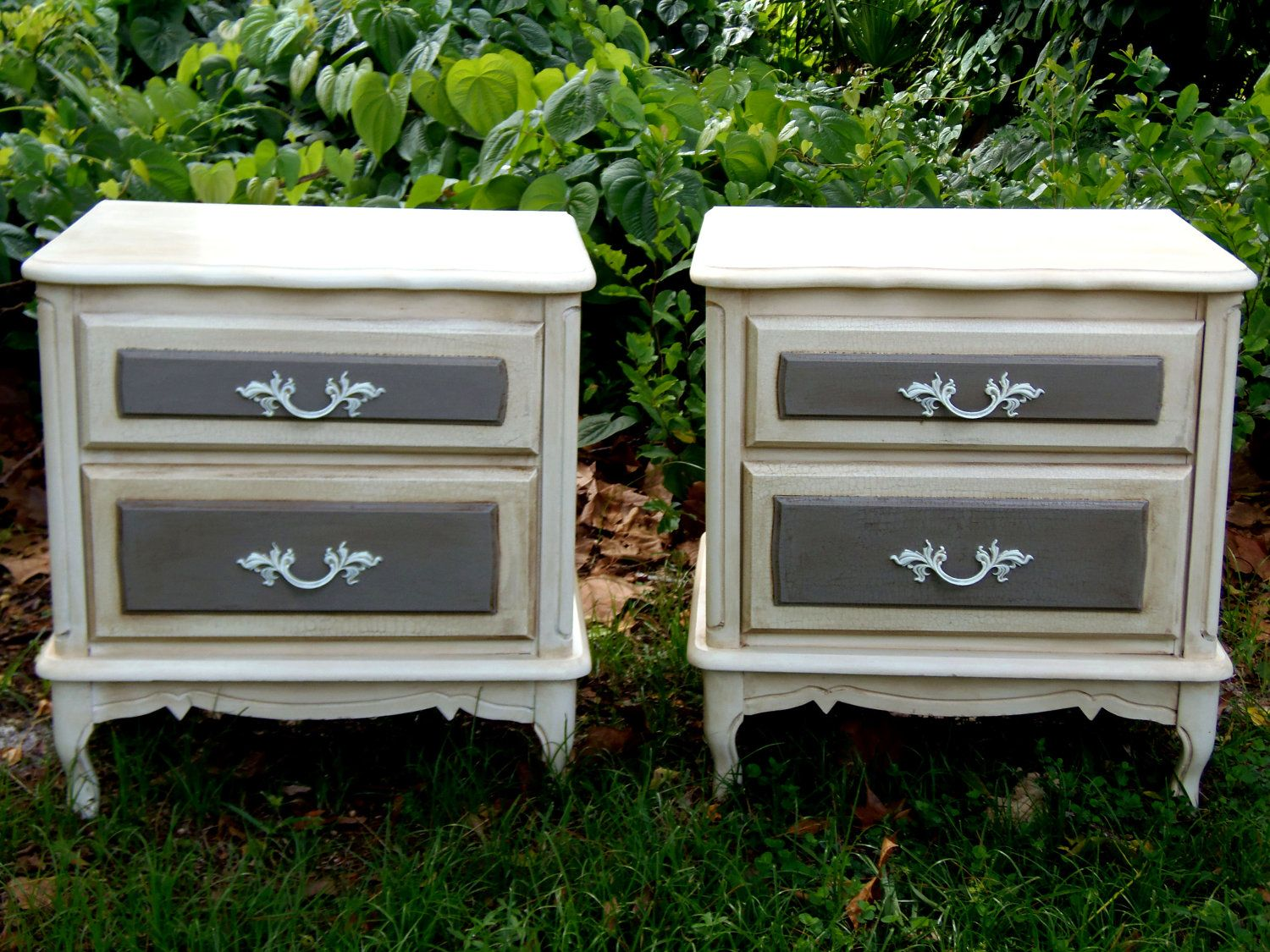 Vintage Nightstands Part - 15: Vintage Set Nightstands French Country Nightstands Paris Apartment End  Tables Country Curvy Cottage Shabby Chic Nightstands
