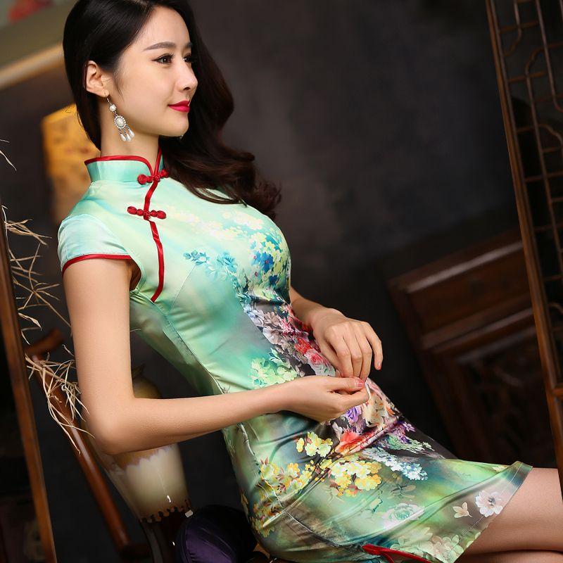 Short-length-Silk-Fabric-Cheongsam-Qipao-Chinese-dress