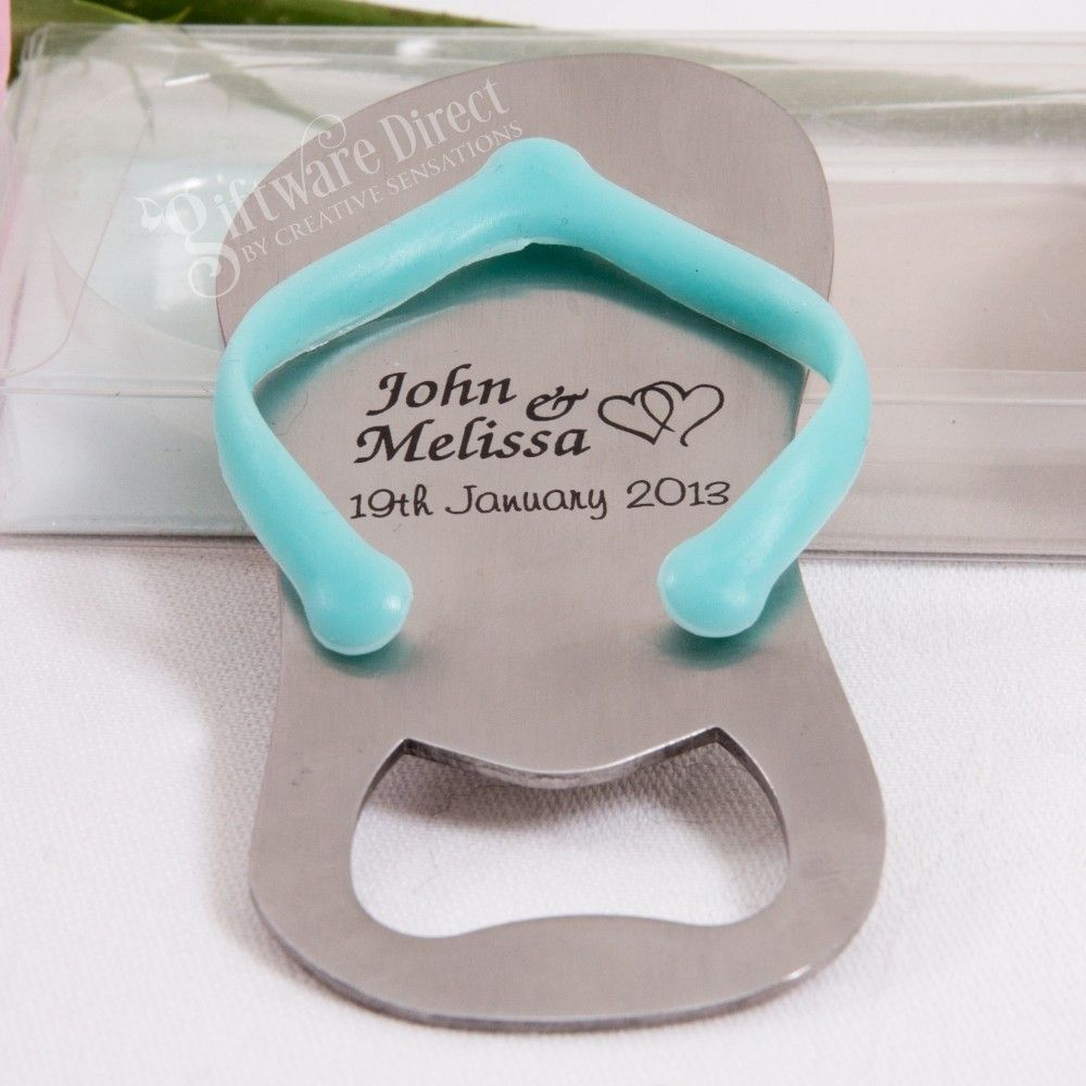 c536bf5ee80da Our personalised engraved flip flop thong bottle opener is a cute and unique  wedding favour for your guests. Perfect for beach themed weddings
