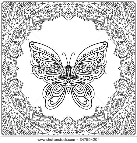 Butterfly In Fecorative Frame Coloring Book For Adult And Older Children Page Outline Drawing