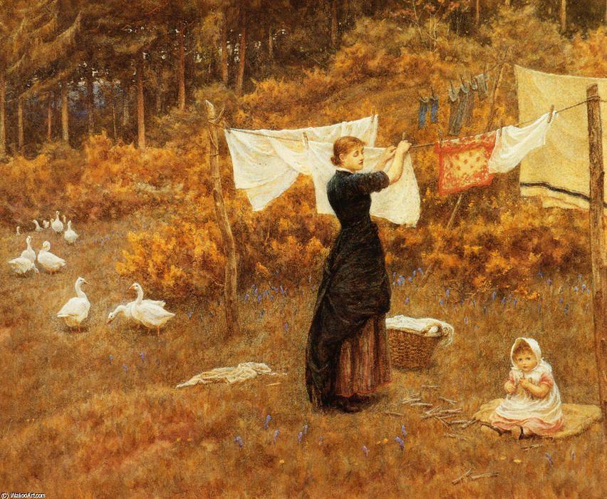 """""""La Línea de ropa"""" de Helen Allingham (Helen Mary Elizabeth Paterson) (1848-1926, United Kingdom)"""
