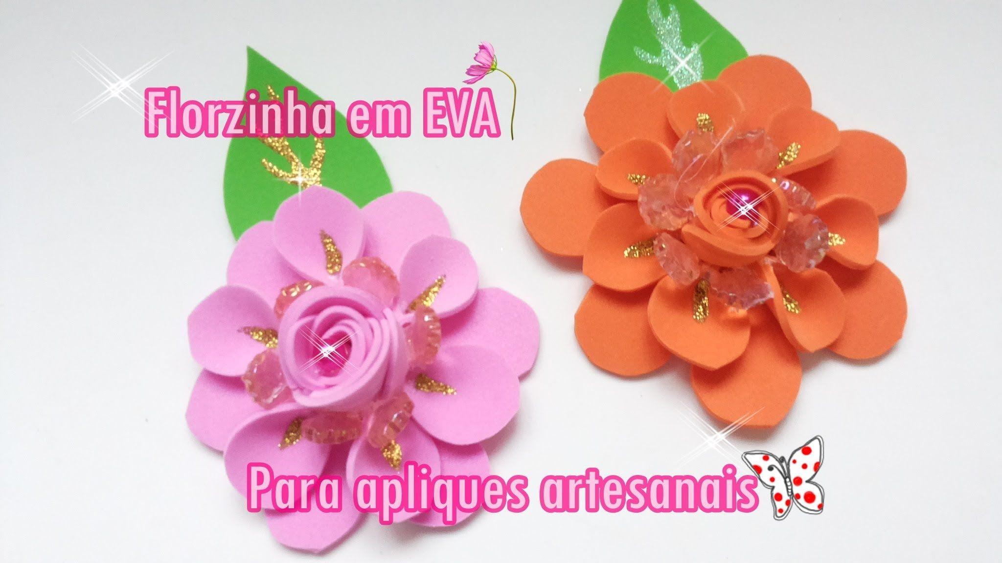 Aparador Movel Branco ~ Flor em EVA para apliques artesanais passo a passo ARTESANATO Pinterest Molde, Ems e Youtube