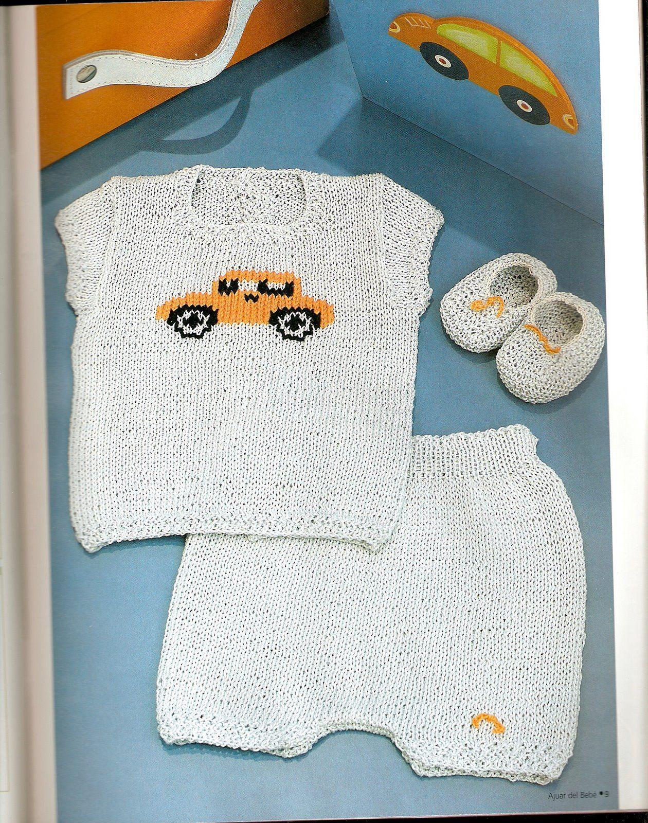 Conjunto tejido para bebe recien nacido con dibujo de autito | Punto ...
