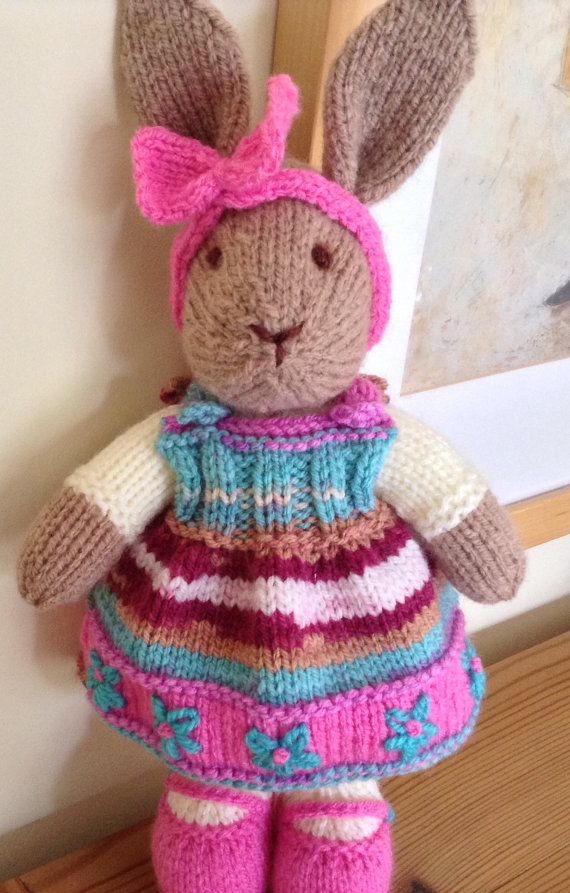 Hand Knitted Rabbit, Bunny, Pretty Knitted Bunny, Summer Colours, Baby Child Gift, Knitted Rabbit
