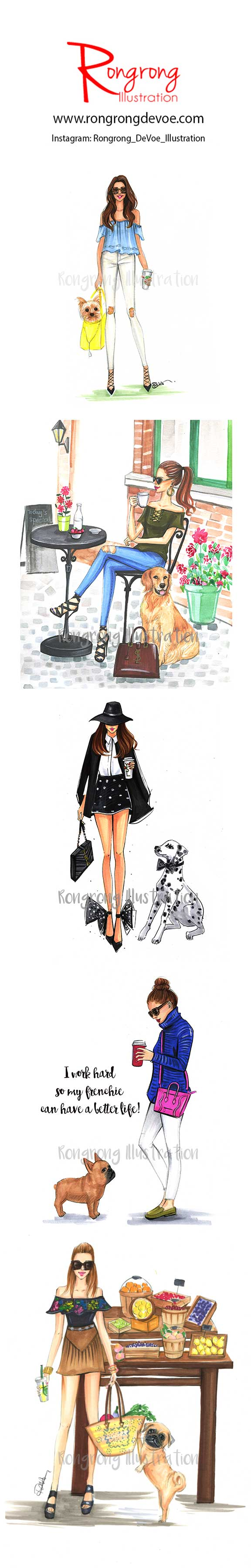 Fashionistas and their dogs fashion illustrations by Houston fashion illustrator Rongrong DeVoe. More fashion art at www.rongrongillustration.etsy.com