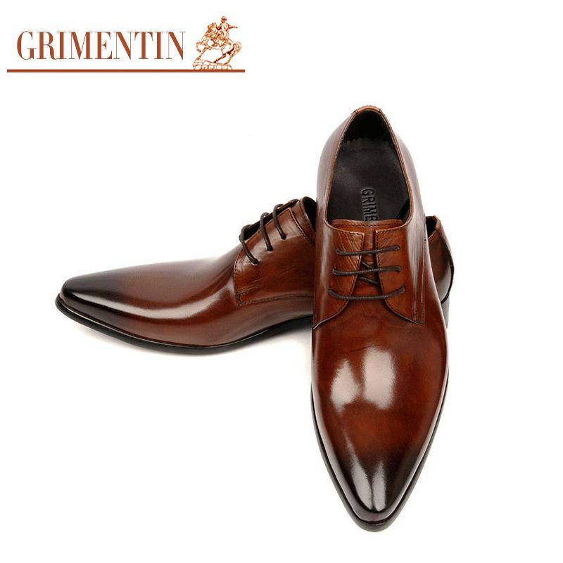 6e9d05b83ea6 GRIMENTIN Fashion Italian designer formal mens dress shoes genuine leather  black luxury wedding shoes men flats office for male
