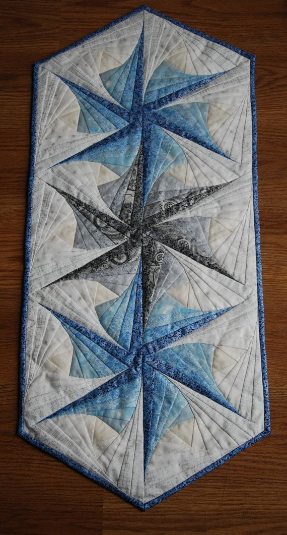 Twisted Log Cabin Frost Table Runner Kit, Table Runner Kit, Twisted Log Cabin Table Runner