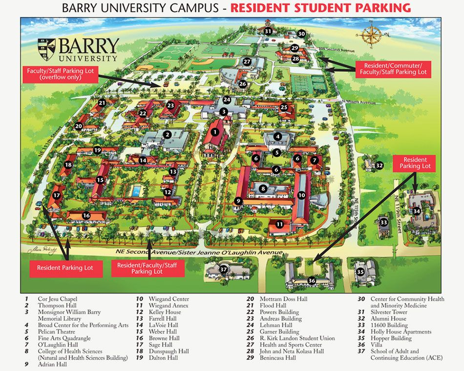 barry university campus map Barry University Campus Resident Student Parking University barry university campus map