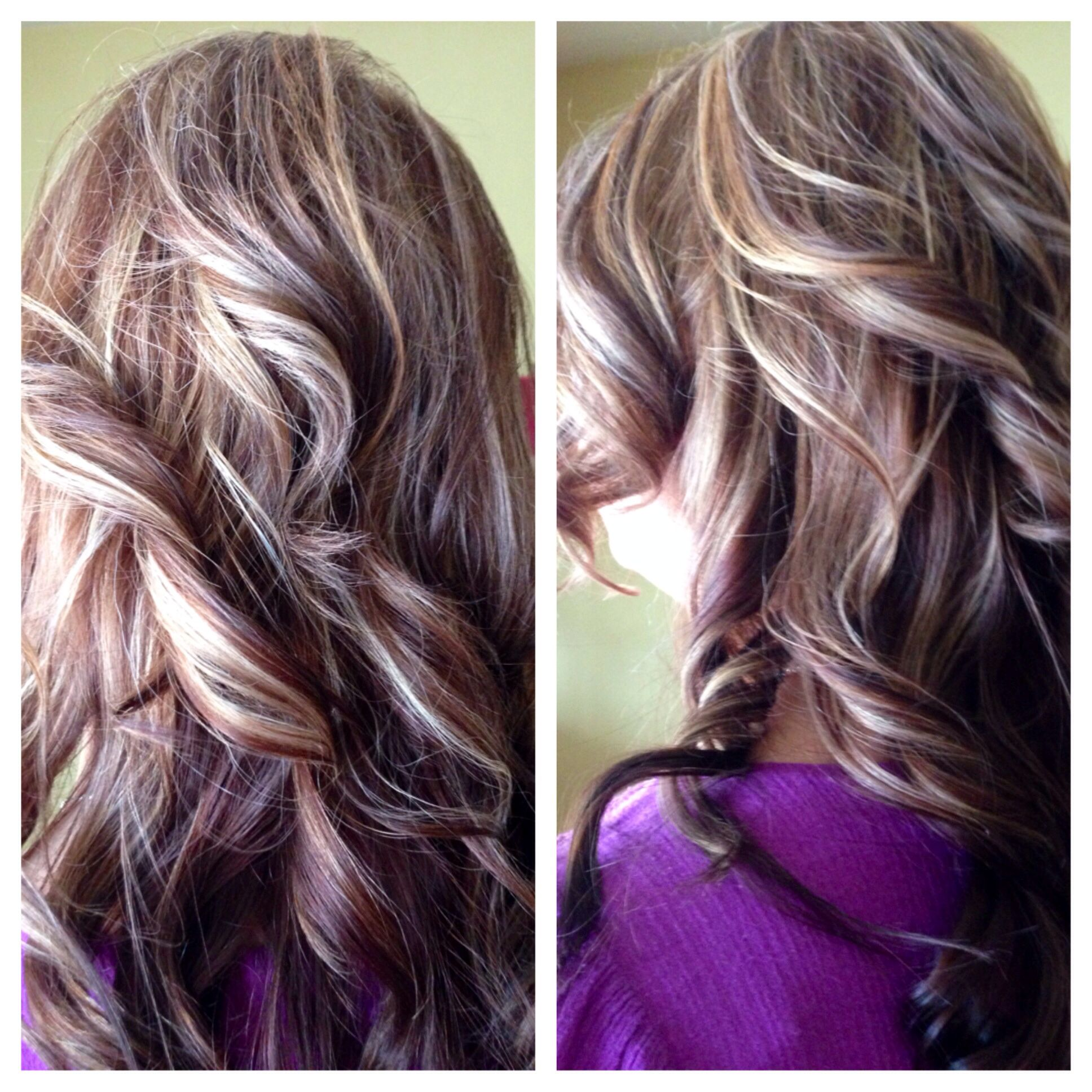 Multi Colored Blonde Highlights Copper Brown Lowlights On A Dark