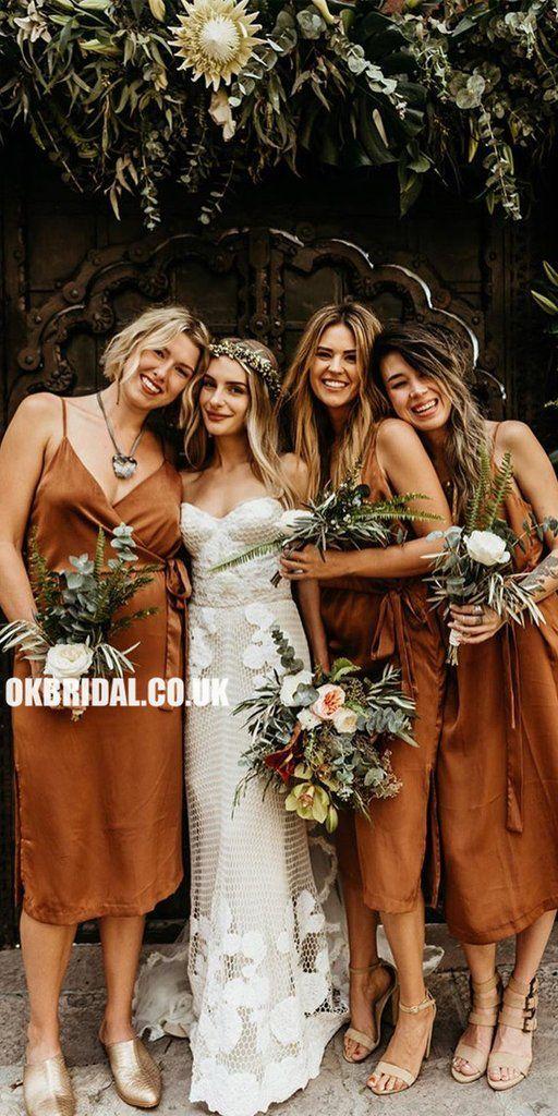 Inexpensive V-neck Sleeveless Tea-Length Bridesmaid Dress, FC2704