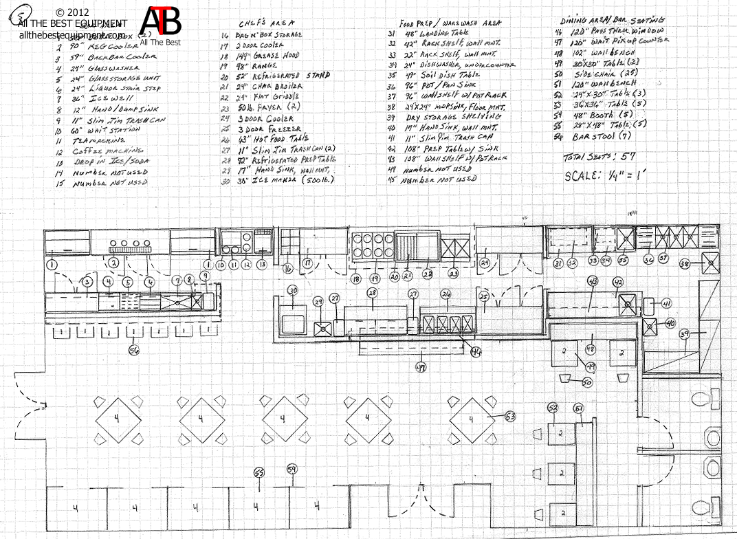 Restaurant Kitchen Blueprint lounge layout | this is an example of a clean restaurant layout