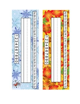 printable desk name tags fall winter spring summer classroom
