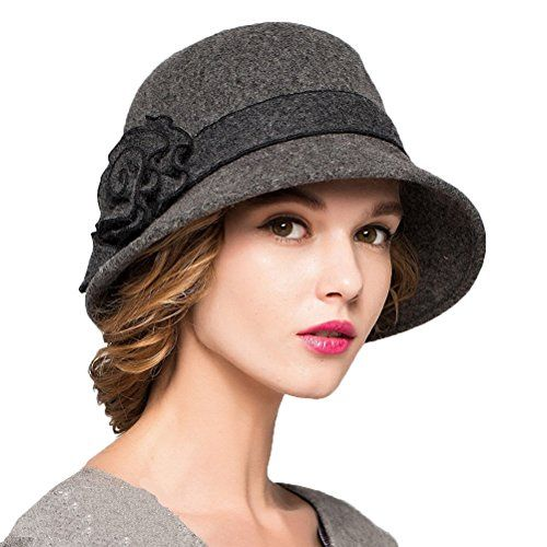Maitose™ Women s Wool Felt Flowers Church Bowler Hats Dar... https   8882ed04ab09
