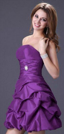 d667c68259f2 Vestido corto, de fiesta, boda, noche, morado, palabra de honor ...