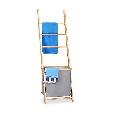 Porte-serviettes bambou panier à linge échelle bois barreaux sac