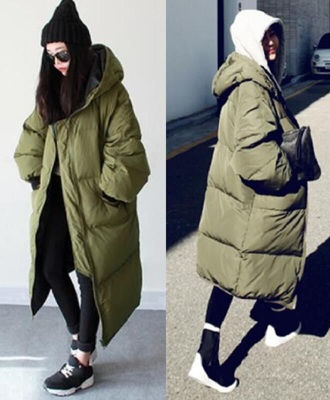 9022731a7 Details about Korean Womens Winter Casual Long Down Parka Hood Loose ...