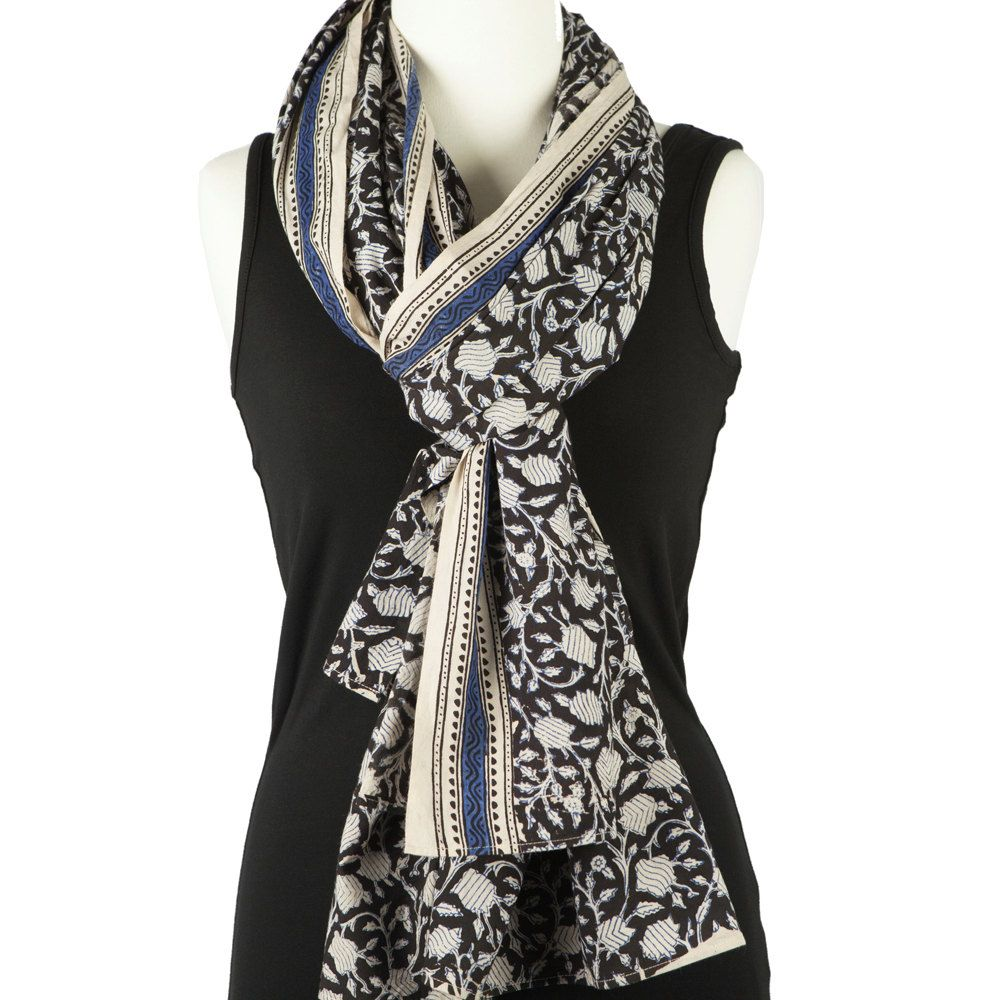 Block Print Cotton Scarf, natural with black and cobalt design. Handmade cotton beach sarong. by PalluDesign on Etsy