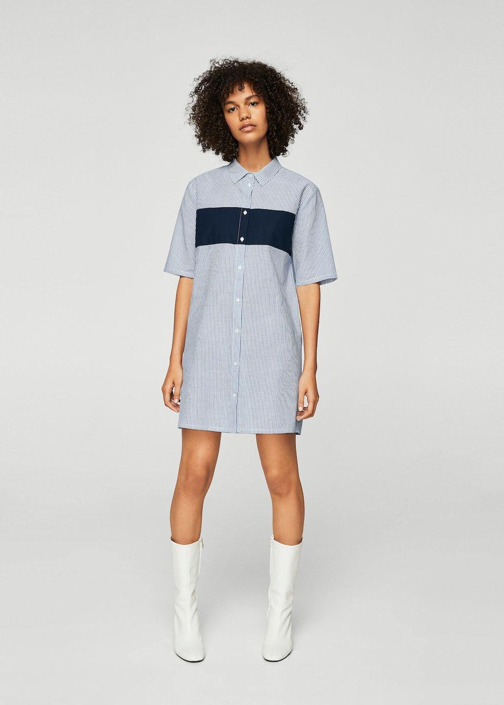 2a99a0382ccd Φόρεμα βαμβακερό στυλ πουκάμισο - Γυναίκα